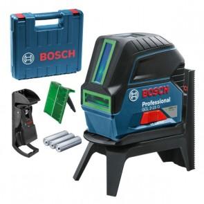 Линеен лазер Bosch GCL 2-15 G + Стойка RM 1 + Таванна скоба + Куфар, зелен лазерен лъч + ПОДАРЪК Футболна топка