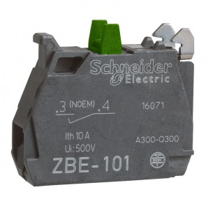 Елемент контактен за команден бутон Schneider Electric ZBE101 / 240V, 3A, NO, зелен