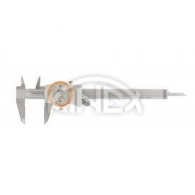 Шублер с индикаторен часовник и дълбокомер Kinex 0-150 mm / 0,02 mm , ANTISHOCK, CSN 25 1235, DIN 862