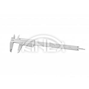 Шублер със заключващ палец и дълбокомер KINEX 150 mm, 0,02 mm, mm+inch, monoblock, CSN 25 1238, DIN 862