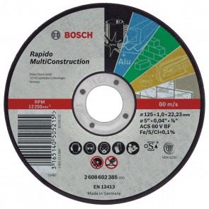 Диск за рязане на метал ф125 х 1 мм Bosch - за AL, Fe, Inox, PVC, Неметали