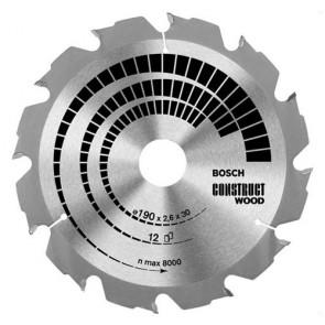 Циркулярен диск Bosch за дърво HM ф190х30х2.6мм, z12