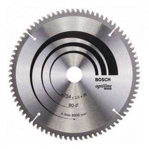 Циркулярен диск Bosch за дърво HM ф254х30х2.5мм, z80