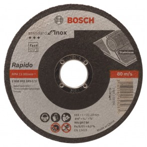 Карбофлексов диск за рязане на неръждавейка Bosch WA60TBF Rapido Long Life / ф115х1х22.23мм